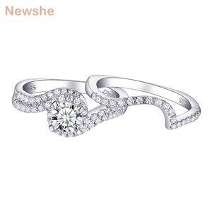 Image 1 - Женское кольцо для помолвки Newshe, белое, круглое, однотонное, 925 пробы, серебряное, 1R0023