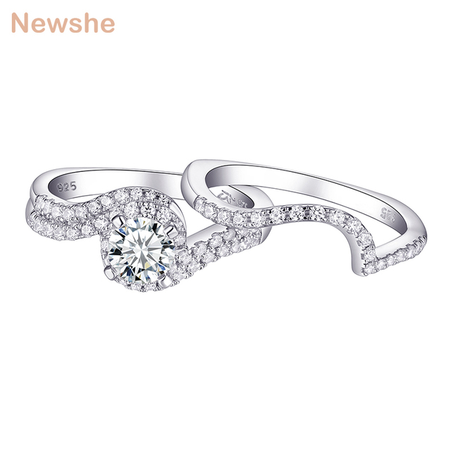 Женское кольцо для помолвки Newshe, белое, круглое, однотонное, 925 пробы, серебряное, 1R0023
