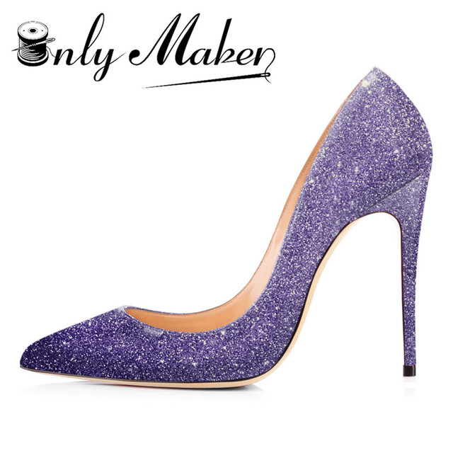 Women s glitter Sequin Pumps Sexy Pointed Toe High Heel Slip On Stiletto  Pumps Large Size Basic 4da43b4ce238