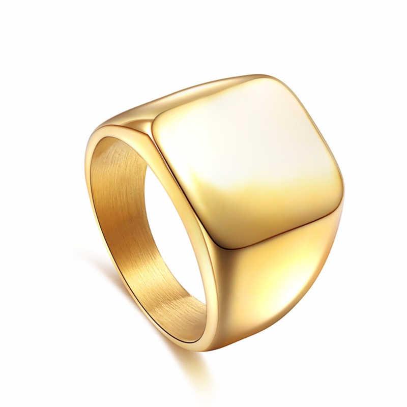 Cincin Square Lebar Cincin Segel 24 K Titanium Steel Pria Cincin Perak Hitam Emas Pria Perhiasan