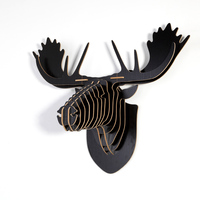 1Set Creative Wooden Moose Deer Head Wall Hanging 5MM MDF Polished Animal Head Wood Craft Gift