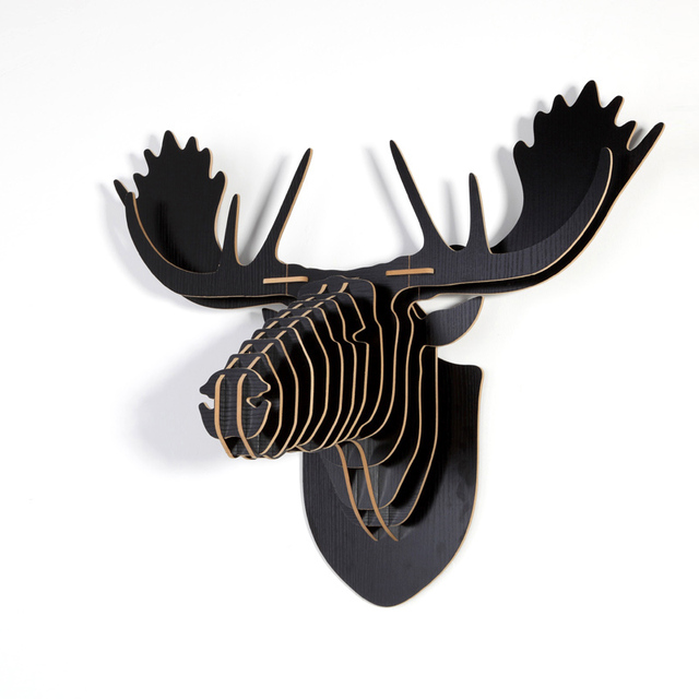 Wood MOOSE Design Home Furniture Creative Animal Head 3D Wall Hanging  Carving For Decor