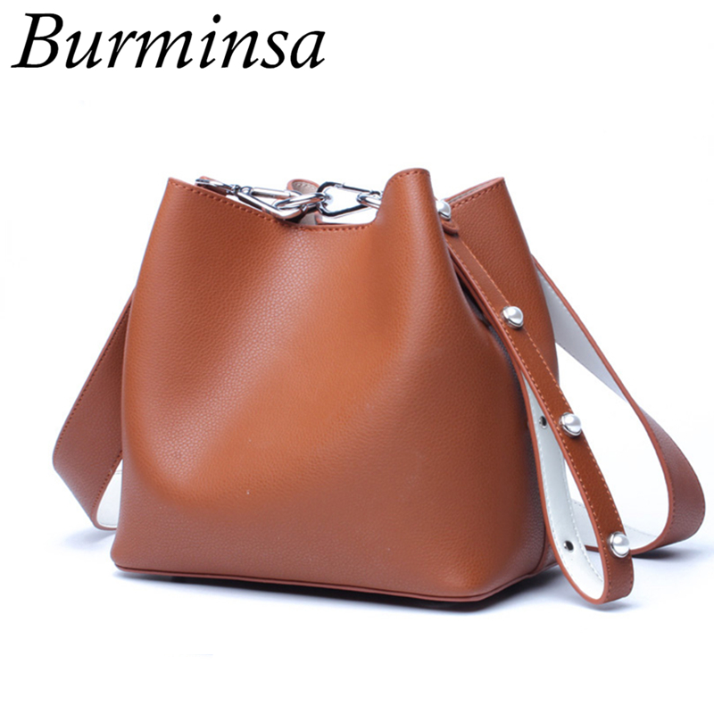 Burminsa Brand Mini Bucket Genuine Leather Bags Ladies Macarons Color Shoulder Bags Designer Handbags Crossbody Bags For Women beioufeng 22 24cm 1 3 male bjd wig accessories for dolls new style high temperature wire fashion short doll wig hair for dolls