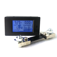 DC 6.5-100V 100A Digital Voltage Current Meter LCD 4 in 1 DC Voltmeter Ammeter Power Energy Tester with DC 100A/75mV Shunt