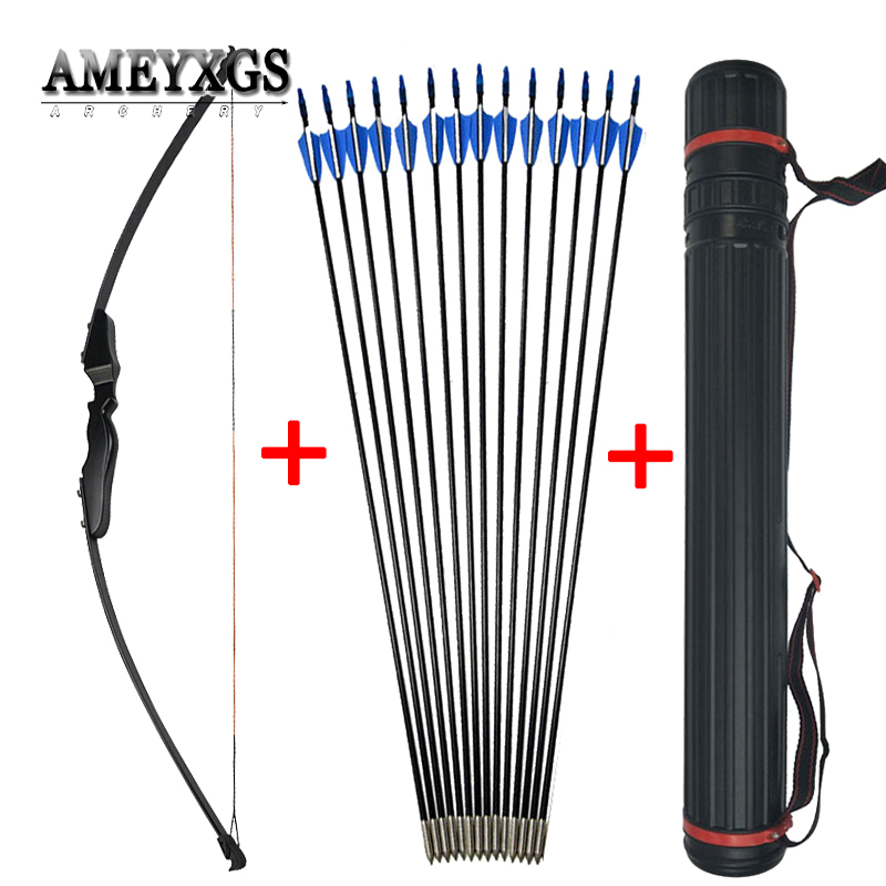 Archery Recurve Takedown Bow 40lbs Straight Bow Long Bow With Fiberglass Arrows Outdoor Hunting Shooting Accessories