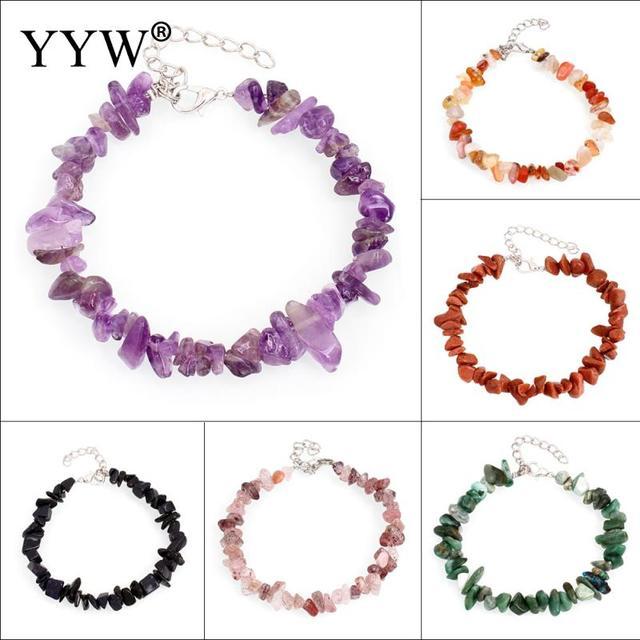 YYW Women's Circle Strand Bracelets Natural Gems Stone Quartz Sea Opal Clear Qua