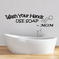 Wash Your Hands Use Soap Words By Mom Wall Sticker For Living Bathroom Waterproof Decal Wallpaper Wall Decor Home Decor