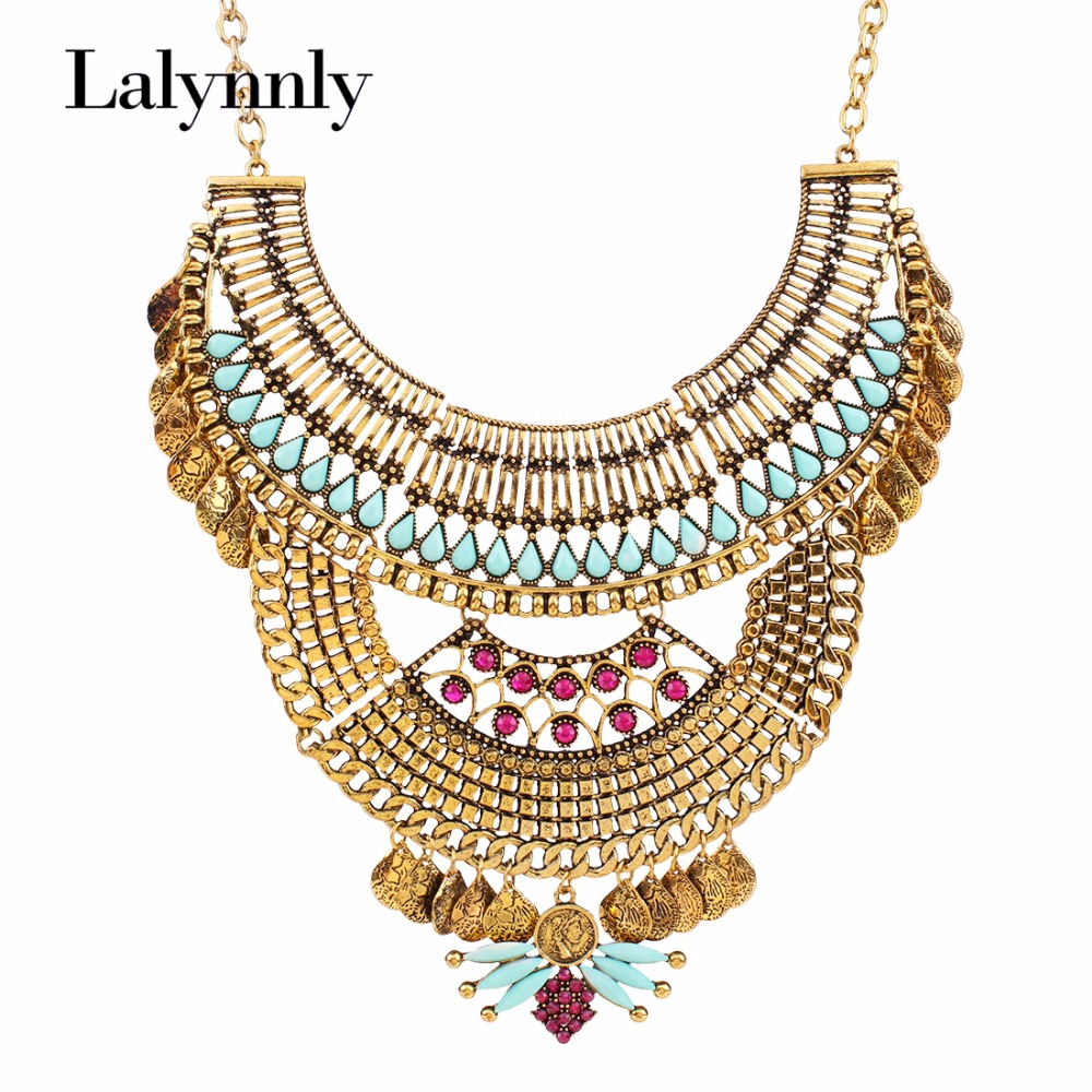 2016 New Design Retro Coin Multilayer Statement Necklace Gold ...