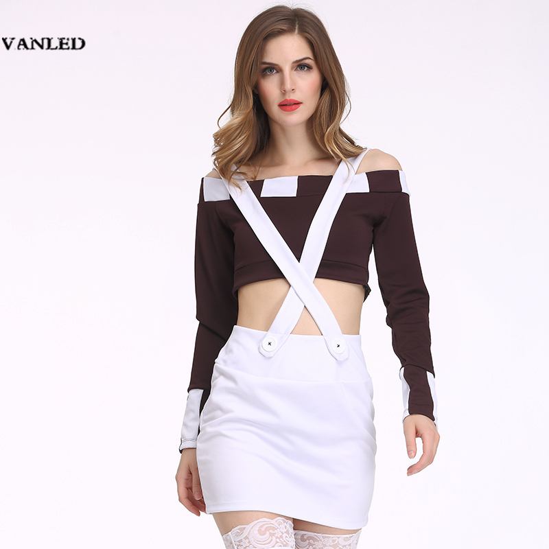 VANLED 2017 Cosplay Off Shoulder Sexy Police Uniform Lingerie Sexy Hot Erotic Women Striped Crop Top Pencil Suspender Skirt Set