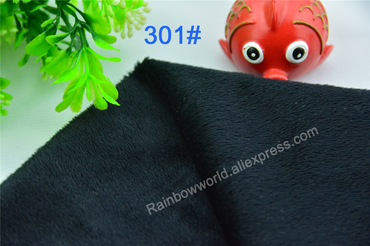 301# Black Color Super Soft Short Hair 0.5-1.5mm Fleece Fabric Velvet Microfiber Velboa  ...