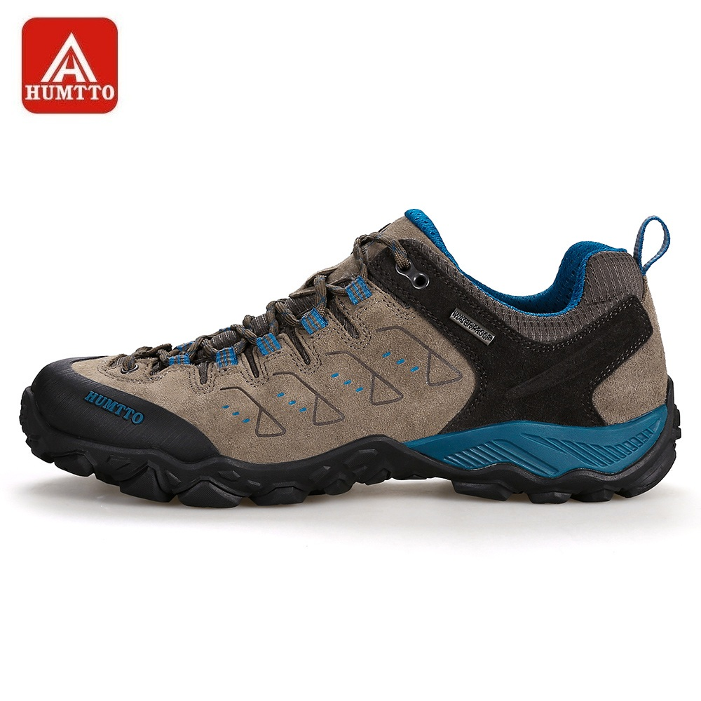 HUMTTO Men s Hiking Shoes Outdoor Mountains Trekking Leather Shoes Breathable Lace up Shock Absorbing Sneakers