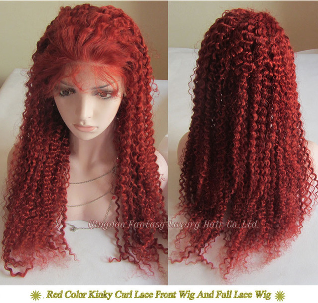 12inch 130 Density Kinky Curl Red Hair Color Full Lace Custom Order