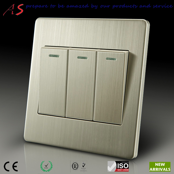 luxurious stainless steel 3 gang one way light switches for ...
