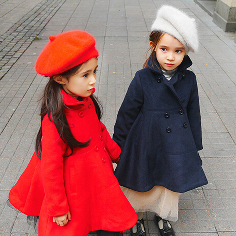 2018 Toddler Girls Outwear Jackets Cotton Blend Tops Fashion Children Jacket Thick Coats A-line Baby Coat Warm E255 wool blend long a line wrap coat with belt