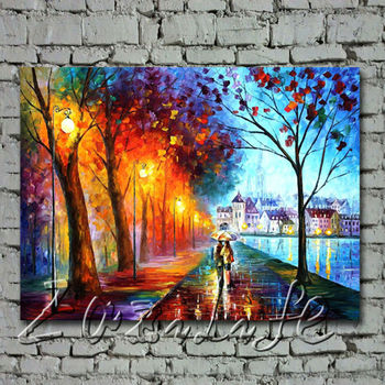 Canvas cityscape painting Palette knife oil painting wall art pictures for living room home decor quadros caudros decoration01