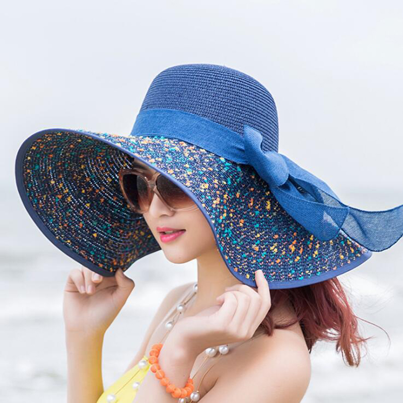 2018 Fashion Bowkno Vintage Hat Lady Summer Wide Along Bow Visor Sun Beach Straw Hat Mujer Cap Candy Colored Sun Hats for Women