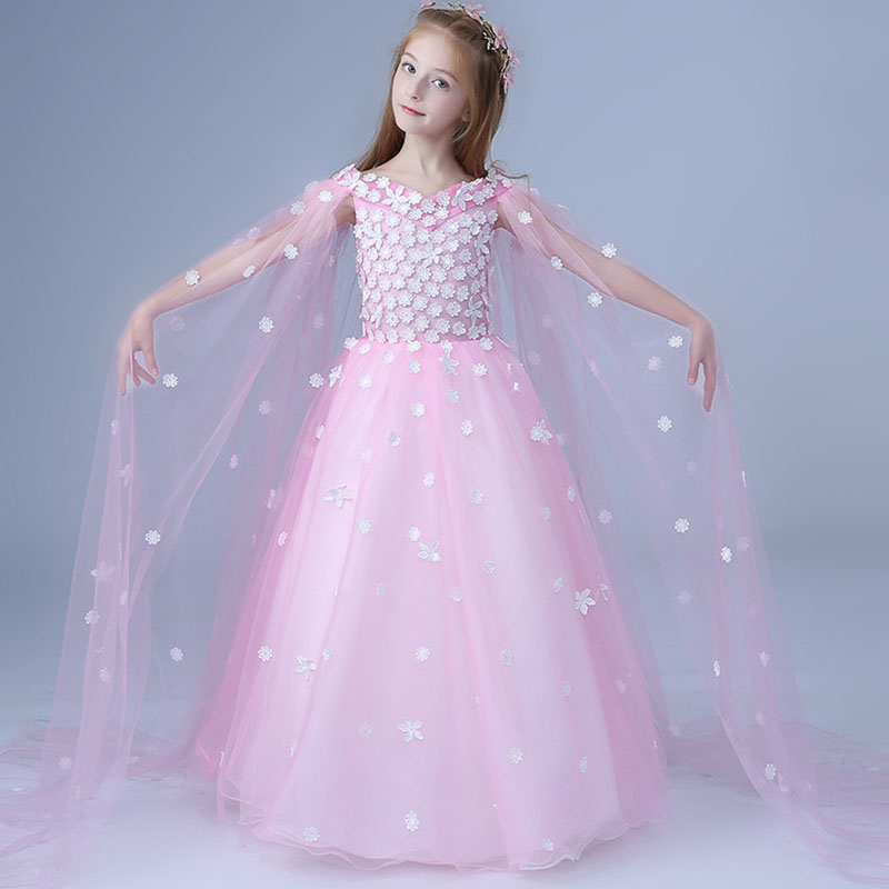 Girls Ball Gown clothing Embroidery children costume grils lace wedding dress kids long dress girls embroidery detail contrast lace hem dress