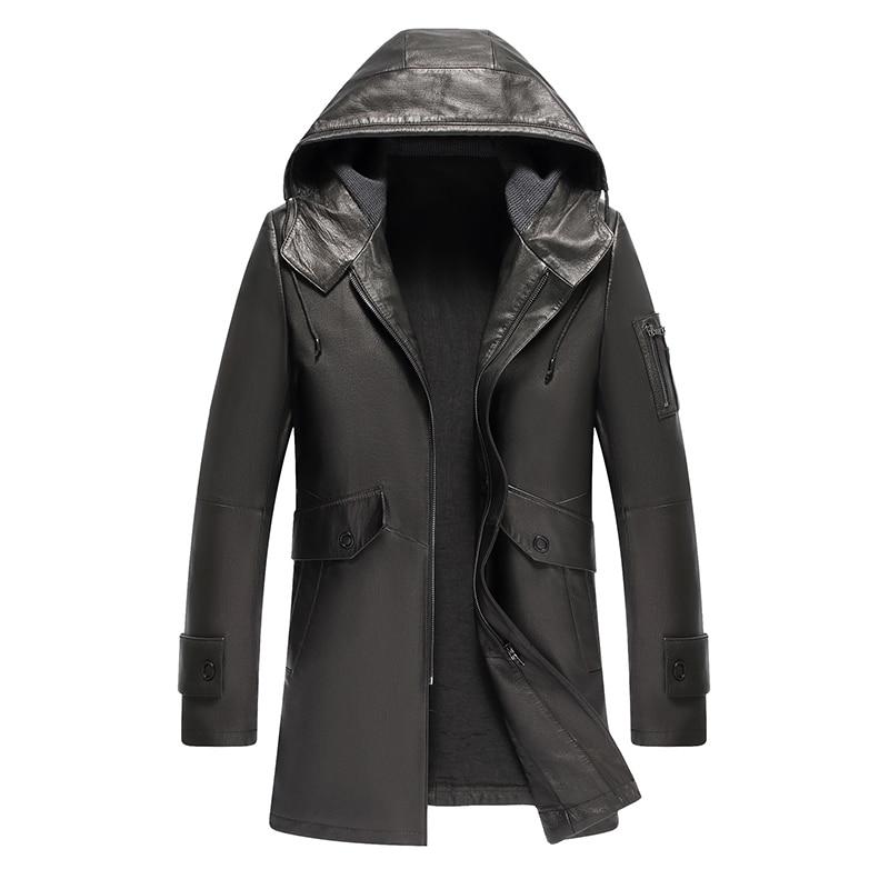 sheepskin vintage hooded leather jacket men yellow black jacket leather windbreaker for men(China)
