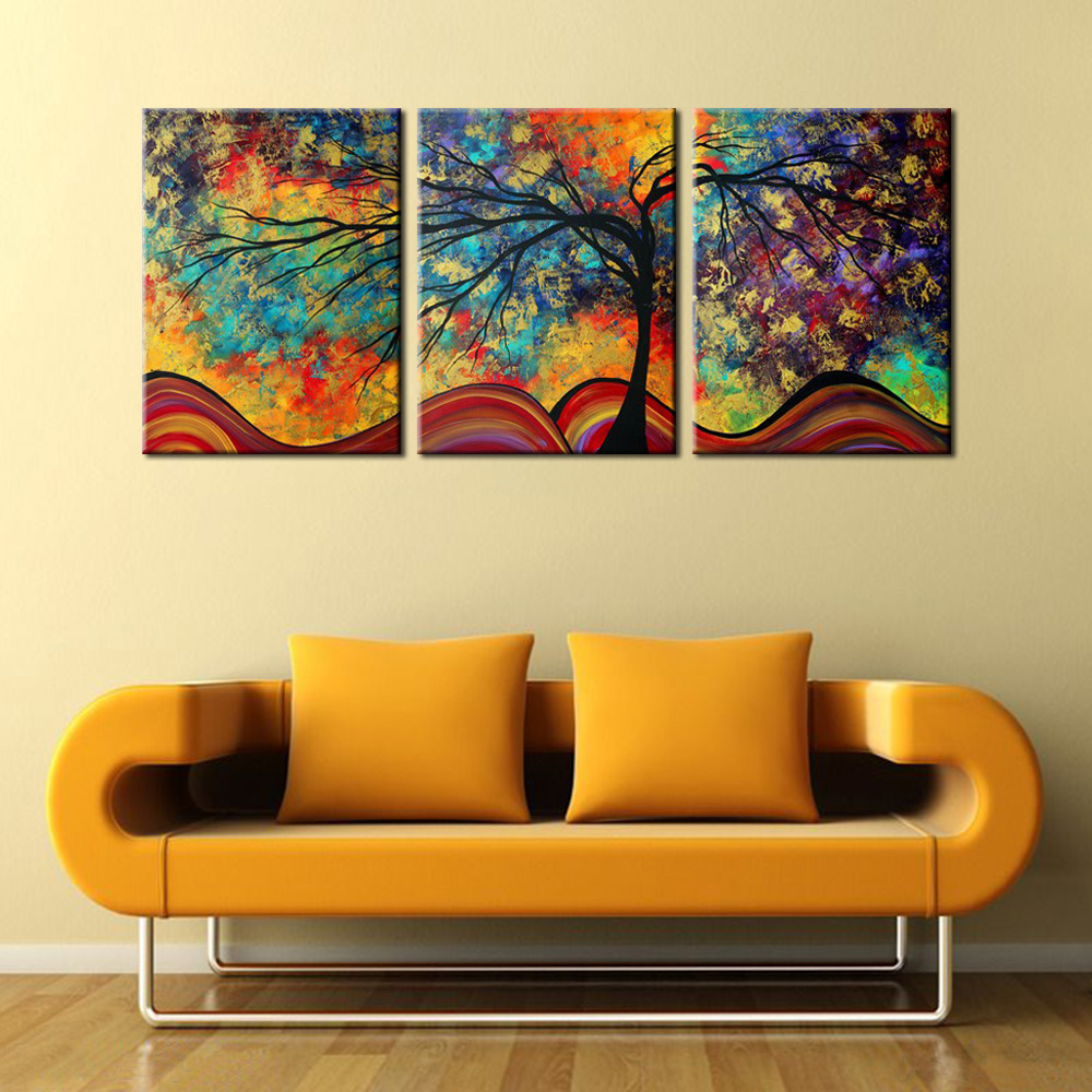 Large Wall Picture Decoration Landscape 3 Panels Colorful Tree Oil ...