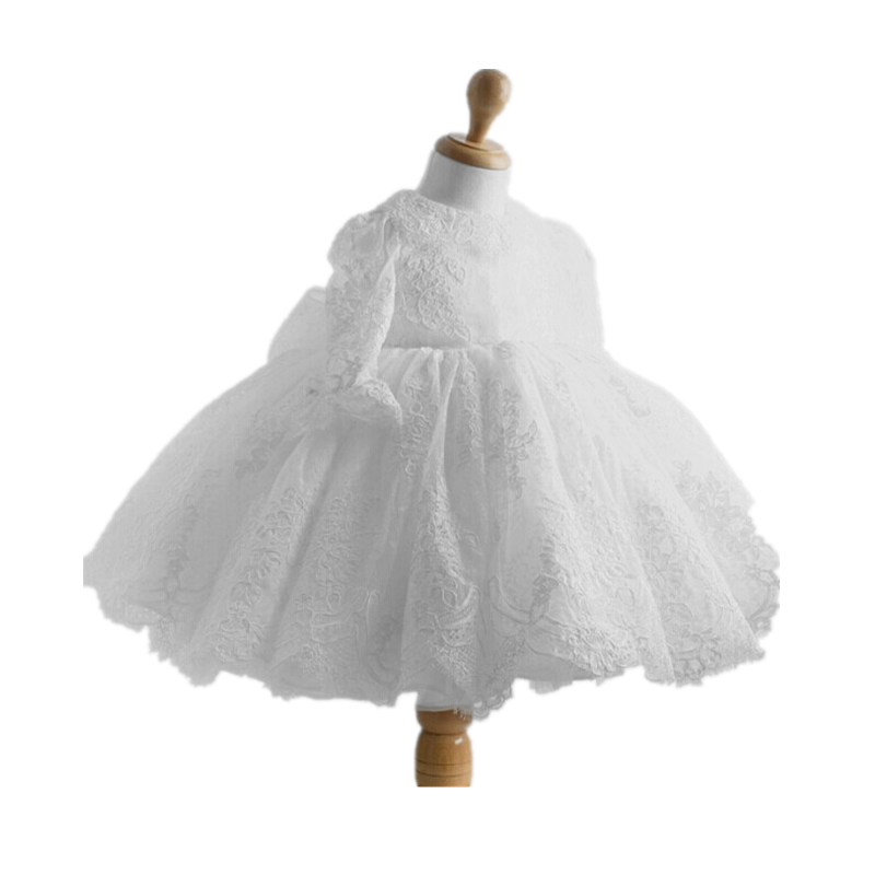 BBWOWLIN Ivory Baby Long Sleeve Dress Girl Winter Clothes for 0- 6 Years Flower Girl Dresses Birthday Party Christening 8097