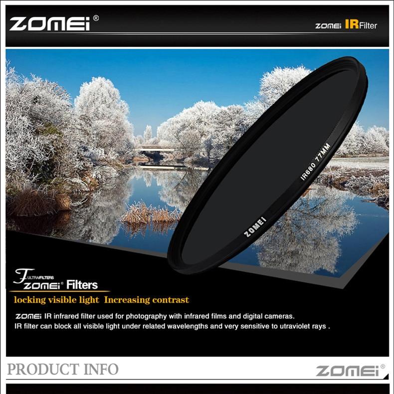 zomei IR 76 760 nm IR76 X-Ray Infrared Filter for DSLR SLR camera lens 52mm 58mm 72mm 77mm For Canon Nikon Sony Pentax Hoya lens 1