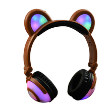 Foldable Over Ear Headphones Wired LED Light Flashing Glowing Headset Stereo Sound Cute Headphones For Girl Kids cute frog style two white led flashing light keychain w sound effect pink 3 x lr1130