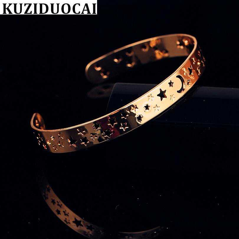 Kuziduocai New ! Fashion Fine Jewelry Pure Copper Prevent Rust Moon Star Openings Bracelets & Bangles Women Girl Gift B-157