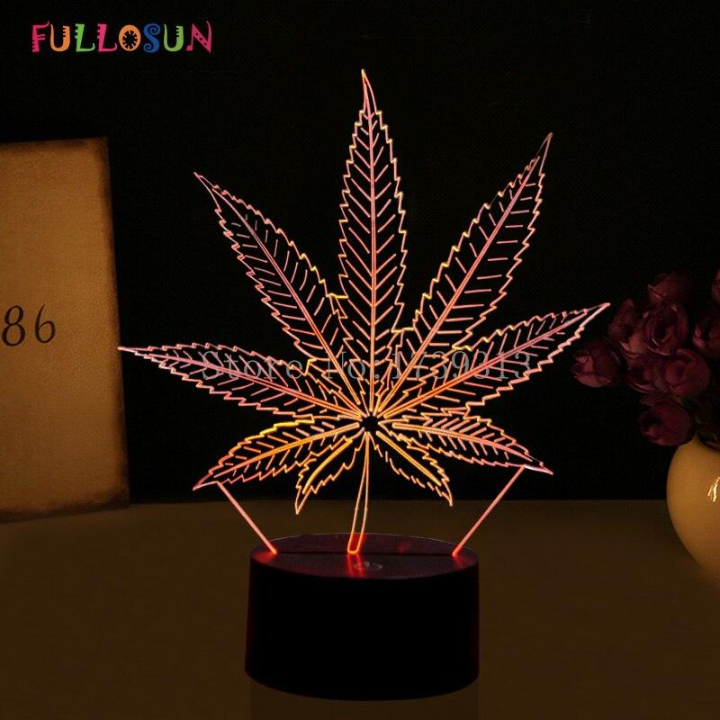 Krásná 3D iluze LED lampa s noční lampou ve tvaru javorového - Noční světla