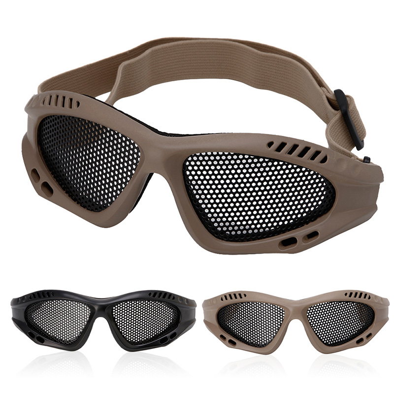 Tactical Motorcycle Airsoft Eye Protection Goggles Anti Fog Mesh Metal Glasses Hyq