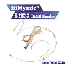 Iiimymic H 21S2 3 3pin Mini Xlr TA3F Connector Headset Headset Microfoon Voor Akg Samson Draadloze Body Pack Zender