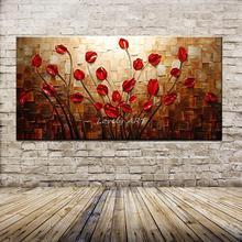 Ручная роспись, текстурированная палитра, нож, красный цветок, картина маслом, абстрактный современный холст, настенная живопись, декор для гостиной