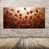 100% pintado a mano paleta texturizada cuchillo flor roja pintura al óleo lienzo moderno abstracto arte de la pared decoración de la sala de estar cuadro