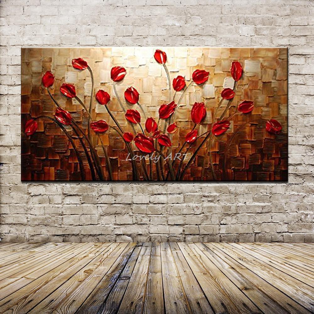 100% 手塗装質感パレットナイフ赤花油絵抽象的な現代キャンバス壁の芸術のリビングルームのインテリア画像  グループ上の ホーム&ガーデン からの 絵画 & 書道 の中 1
