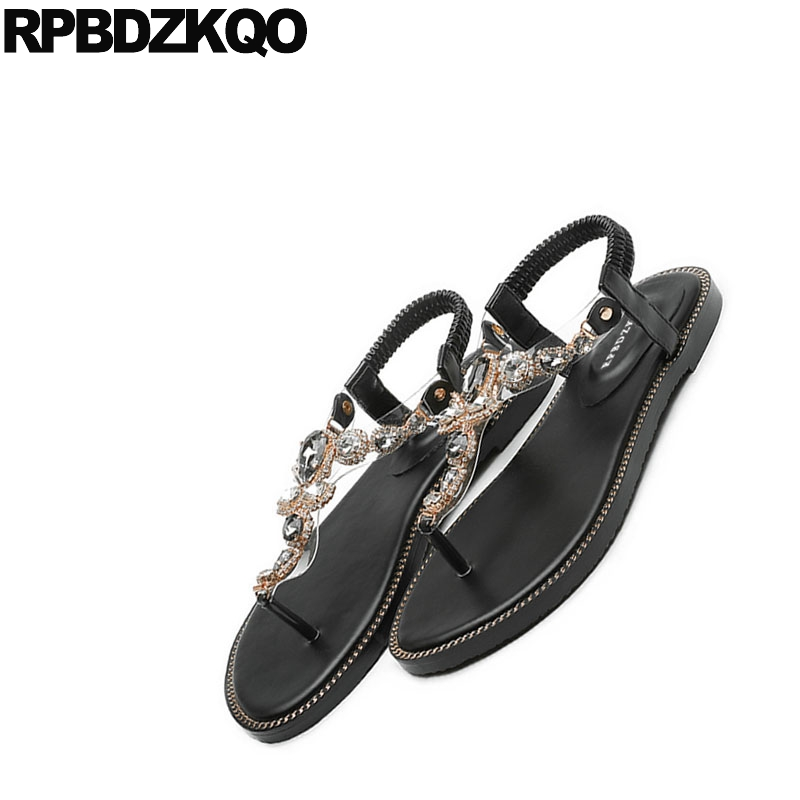 3851d490cb3c1f Transparent Shoes Sandals Leisure Fashion Bohemia Style Women Cheap  Rhinestone Pvc Jewel Thong Crystal Diamond Beach Flat Black-in Women s  Sandals from ...
