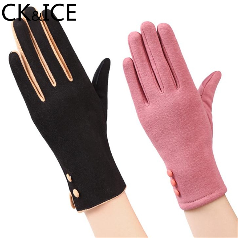 CK&ICE Classic Ladies Touch Screen Warm Wrist Gloves Women Winter Button Chain Rope Cashmere Full Finger Glove Mittens Guantes
