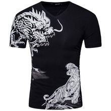 New Arrive Men Short Sleeve V Neck Print Dragon T Shirt 2017 Summer Fashion Grey Black Slim Cotton T Shirt S-XXL D053