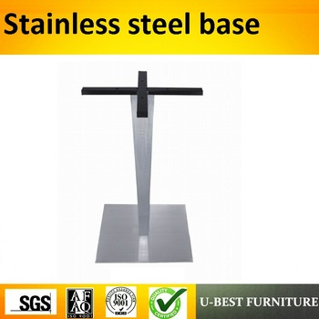 U-BEST hot sale stainless steel coffee table legs square dinning brushed table base