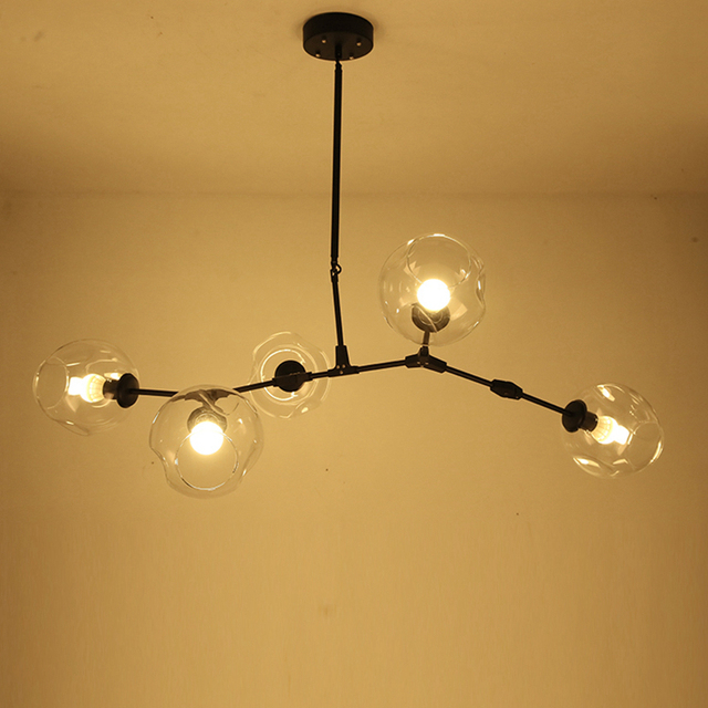 Post modern 5 light Globe Branching Bubble Chandelier light black ...
