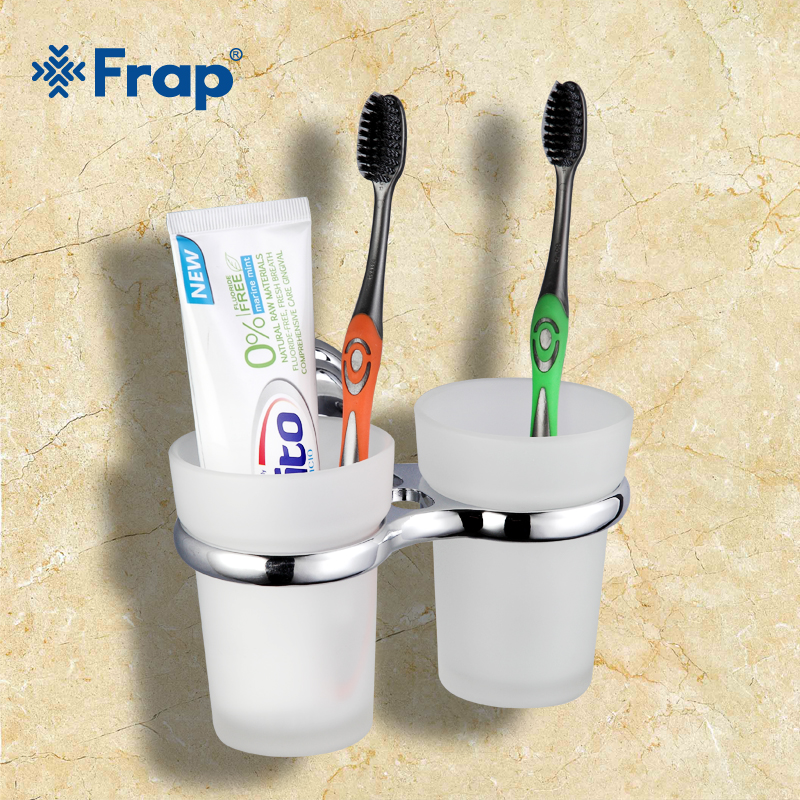 1 set High Quality Wall-mount Zinc alloy cup holder Glass cups Bathroom Accessories Double Toothbrush holder F1508 image