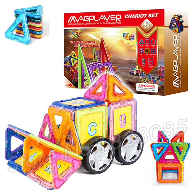 ФОТО 40pcs/set 3D DIY Magnetic Blocks With Car Wheels Building Blocks TOY 3D Brain Training ABS plastic magnets Designer Toys Gifts
