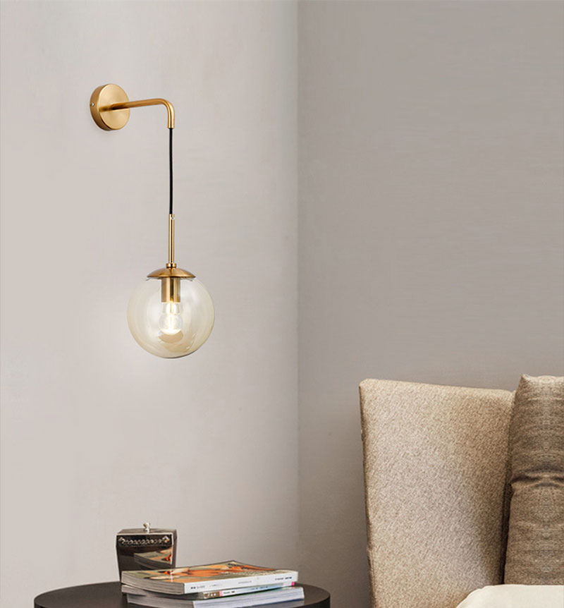 Nordic Post Modern LED Wall Lamp Creative Glass Ball Mirror Bedside Wall Lamps Vintage Wall Light For Living Room Heme Deco (3)