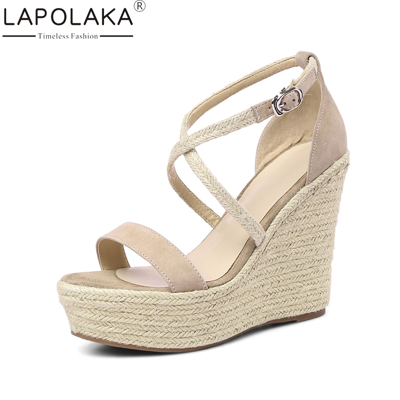 LAPOLAKA Kid Suede Genuine Leather Wedges High Heel Woman Shoes Cross Strap Solid Party Women Shoes Summer Sandals lapolaka 2018 brand new horsehair woman elegant wedges high heel women shoes platform black summer sandals women