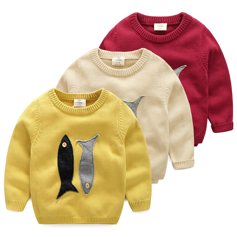 2018 Spring Autumn Winter 2-10 Years Old Teenage Christmas Gift O-Neck Knitted School Child Cartoon Baby Kids Boys Sweaters