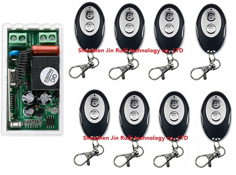9pcs/lot AC220V 1CH Wireless Remote Control Switch System 1*Receiver + 8 *ellipse shape Transmitters for Gate Garage Door
