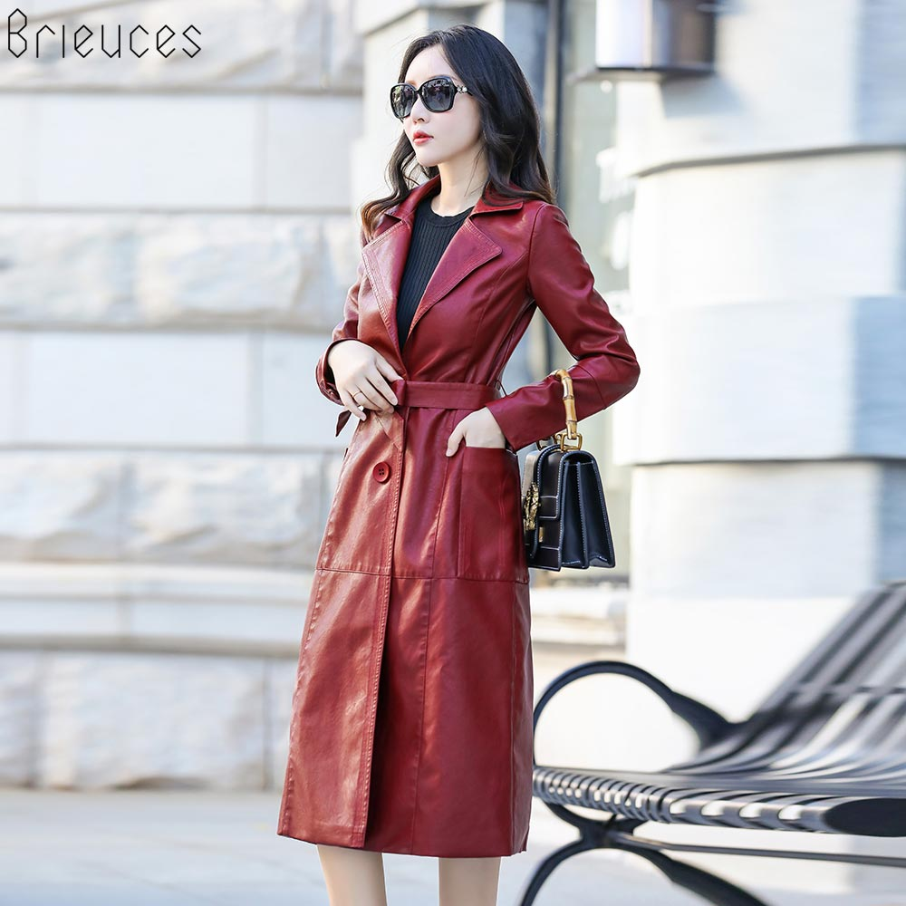 Brieuces 2018 Spring Autumn Women   Leather   Jacket Fashion High-end PU   Leather   Coats X-long Belted Slim PU   Leather   Trench Coats