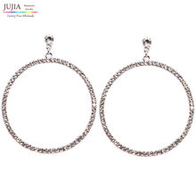 NEW HOT Women's fashion earrings New arrival brand big round with clear crystal stud HOOP Big crystal earring for women girls(China)