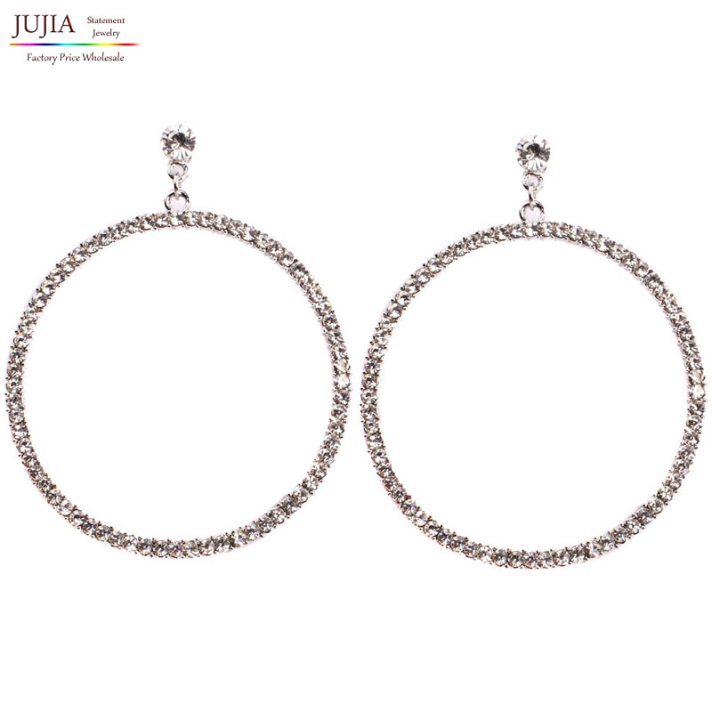 NEW HOT Womens fashion earrings New arrival brand big round with clear crystal stud HOOP Big crystal earring for women girls