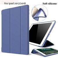 Чехол для нового iPad 9,7 дюймов 2018 2017 Release, ZVRUA Мягкая силиконовая Нижняя + искусственная кожа Smart Cover Auto Sleep для нового iPad 9,7