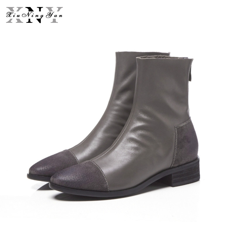 XIUNINGYAN Winter Shoes Woman Genuine Leather Round Toe Model Chelsea Boots Superstar Pig Suede Women Ankle Boots Big Size 33-43XIUNINGYAN Winter Shoes Woman Genuine Leather Round Toe Model Chelsea Boots Superstar Pig Suede Women Ankle Boots Big Size 33-43