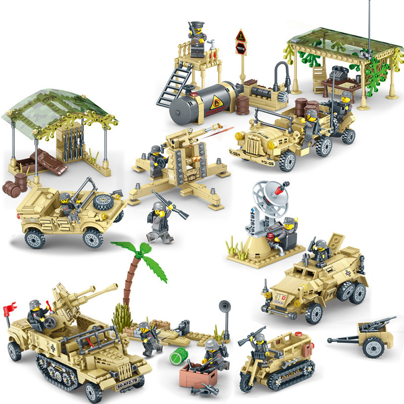 KY82033 4 Style Ww2 Building Blocks Sets With Figures Weapons Guns Accessories Tanks The Truck Model Bricks Toy For Children цена